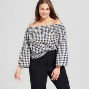 Target Who What Wear off the shoulder Gingham top